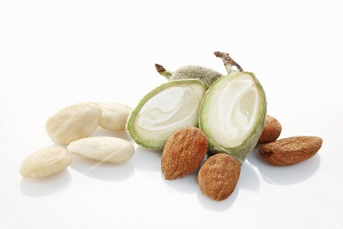 Raw almonds and almond hulls