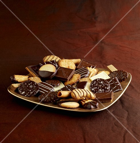 A plate of various biscuits