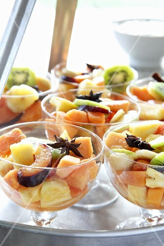 Fruit salad with star anise