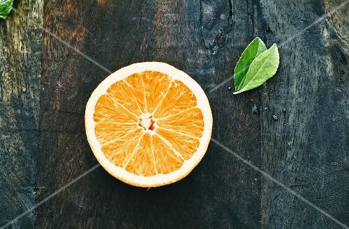 Half an orange, seen from above