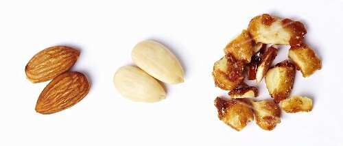 Whole almonds, shelled almonds and almond brittle