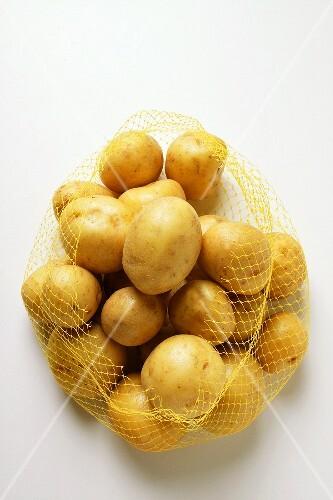 Yukon Gold potatoes in net
