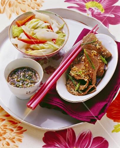 Bulgogi with kimchi (marinated beef & pickled cabbage, Korea)