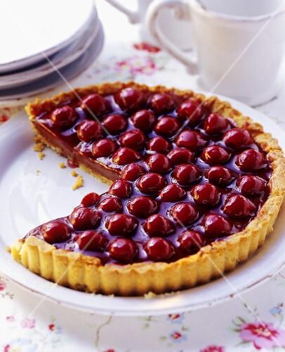 Ganache tart with morello cherries