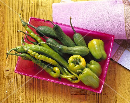 Still life with chili peppers, peppers and cucumbers