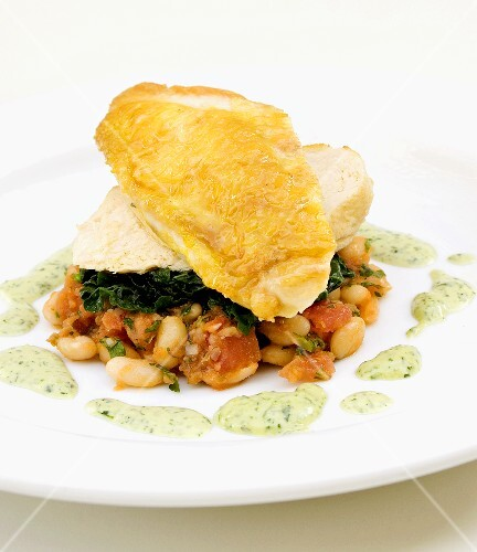 Chicken breast with beans and spinach