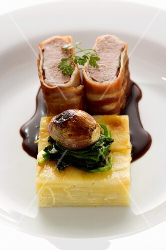Lamb fillet wrapped in ham and potato gratin