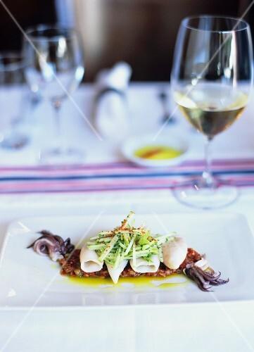 Squid and apple salad