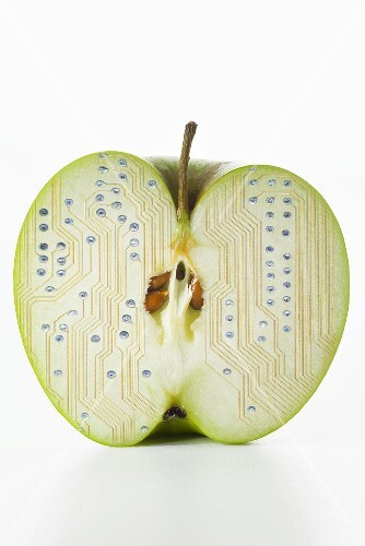 Half an apple with electronic circuit