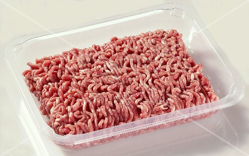 Fresh mince in plastic container