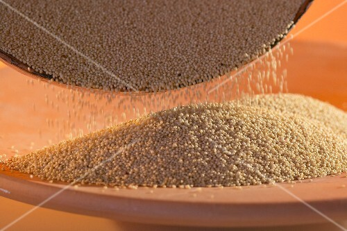 Pouring amaranth out of a dish