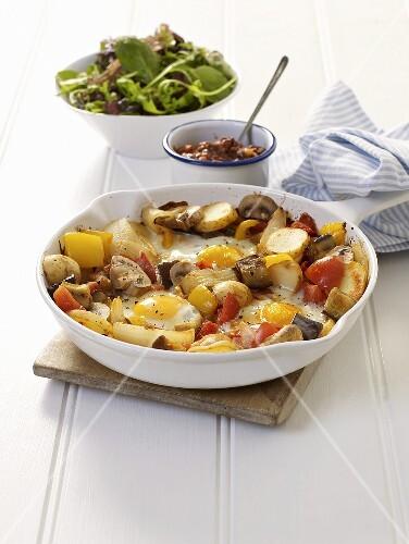 Pan-fried potatoes, mushrooms and fried eggs