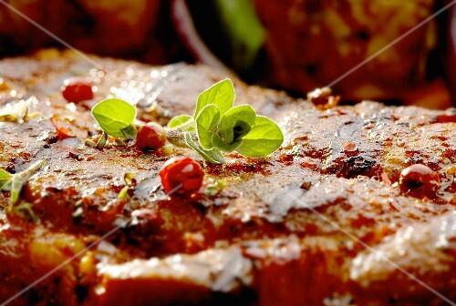 Grilled steak (close-up)