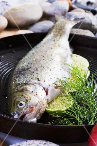 Trout with lime in a grill frying pan