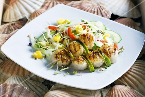 Grilled scallops on a vegetable and mango salad