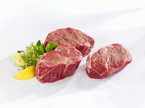 Raw beef fillet steaks