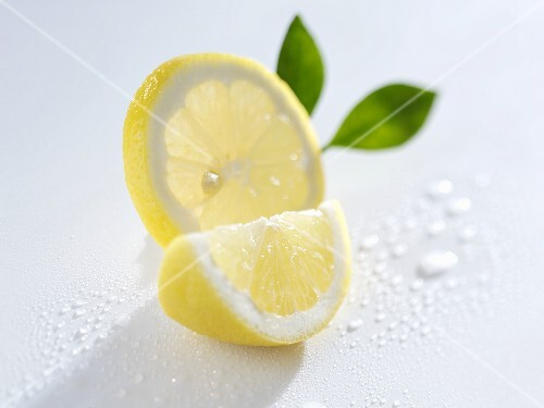 Slice and wedge of lemon