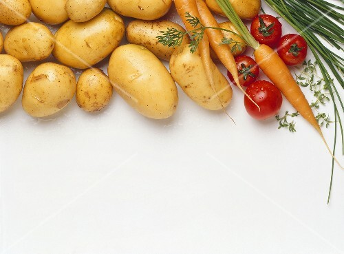 Potatoes, carrots, tomatoes and chives