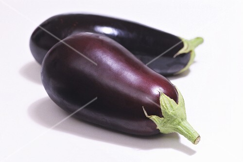 Two aubergines