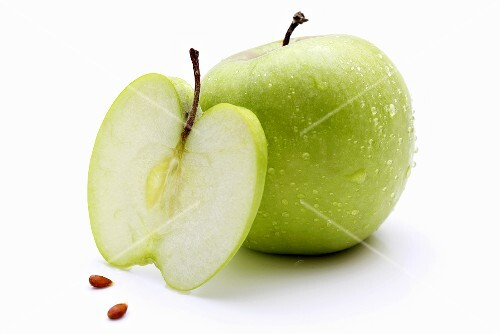 Granny Smith apples (whole, slice and pips)