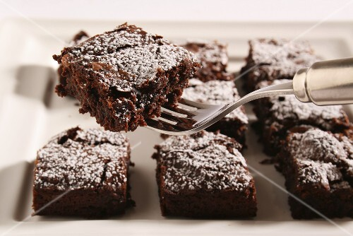 Brownies with icing sugar