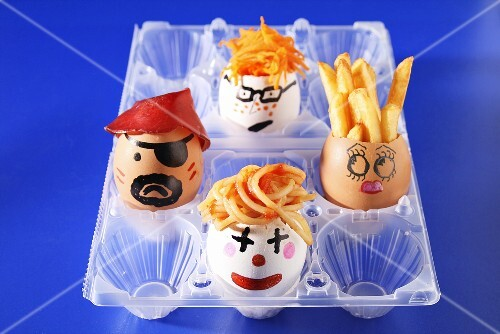 Snacks in painted eggs for a children's party