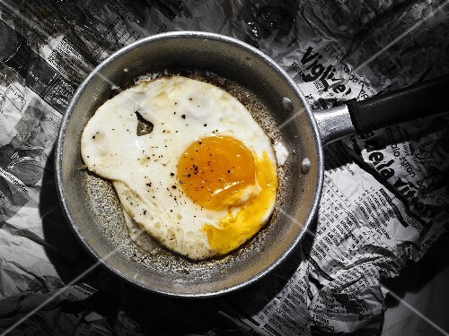 Fried egg in a small frying pan