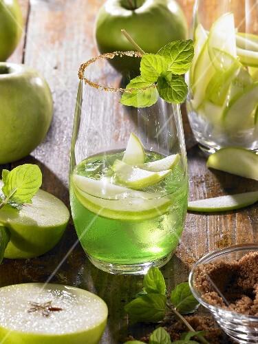 Apple Martini in glass with sugared rim