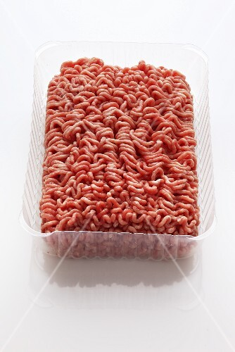 Mince in a plastic container
