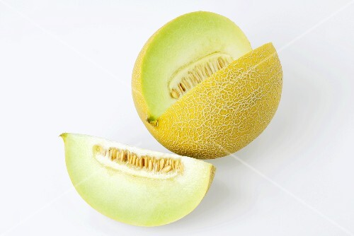 Galia melon with a section removed