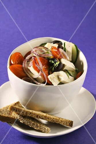 Greek salad with sheep's cheese, bread