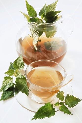 Nettle tea and fresh nettle leaves