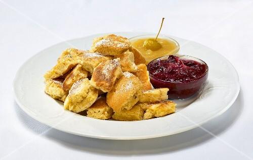 Kaiserschmarren (Emperor's pancake) with plum compote & mirabelle puree