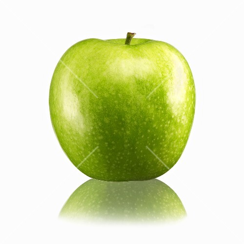 Green apple with reflection