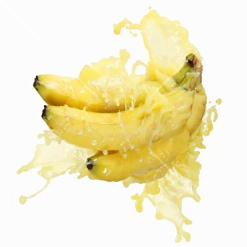 Bananas with splashing banana juice