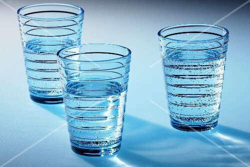 Three glasses of mineral water