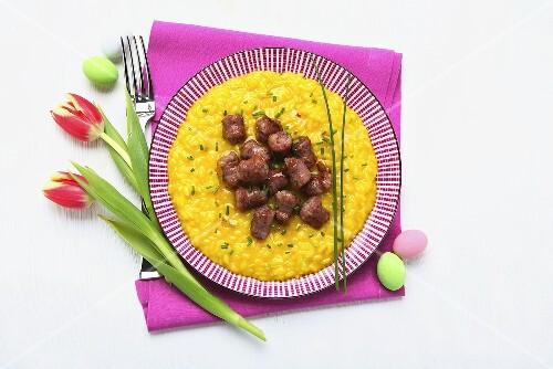 Saffran risotto with salsiccia
