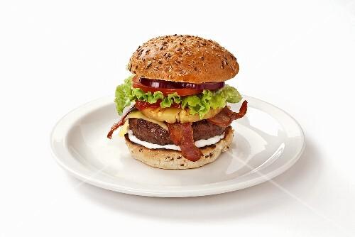 Hawaiian burger with pineapple and bacon