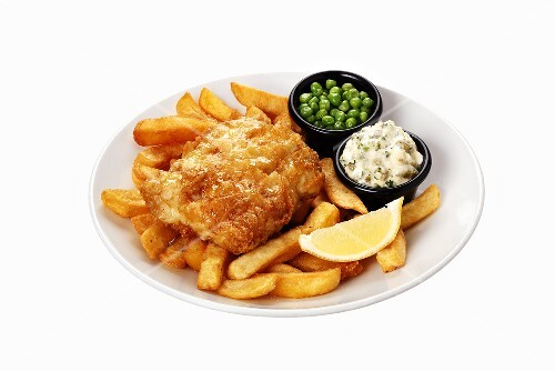 Fish and chips with tartare sauce and peas
