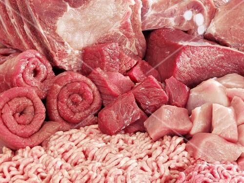 Various types of meat, full-frame