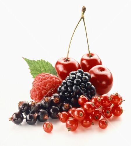Fresh berries and cherries
