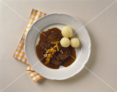 Meat cooked in must with potato dumplings (Upper Austria)
