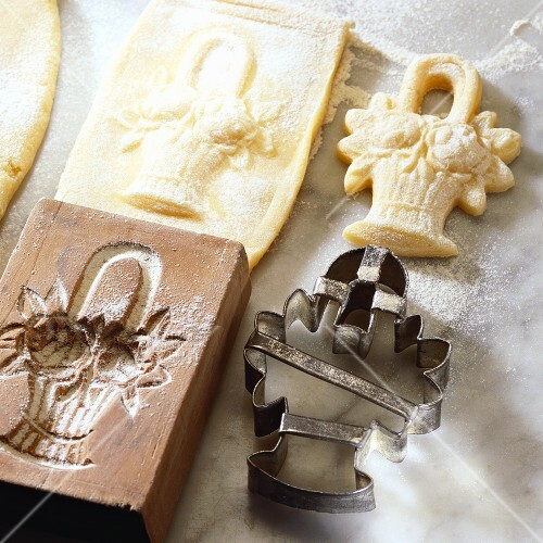 Springerle cookies, wooden moulden and matching cutter