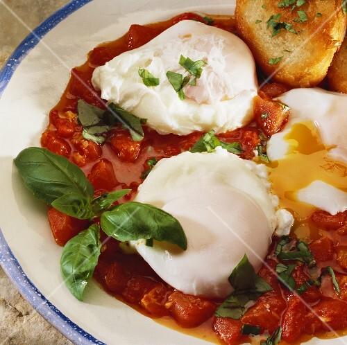 Poached eggs in tomato sugo