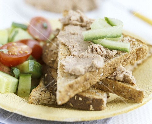Liver pâté on toast triangles