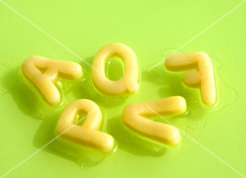 Broth with alphabet pasta