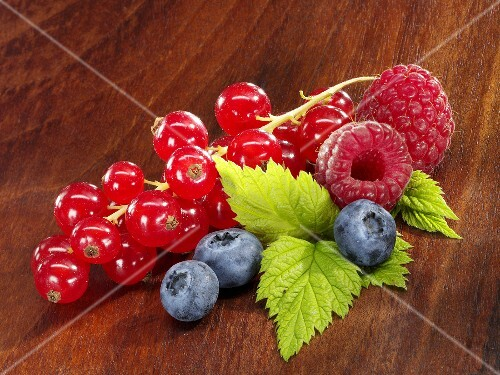 Redcurrants, blueberries and raspberries