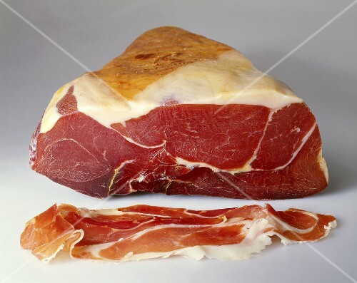 Parma ham on the joint and sliced