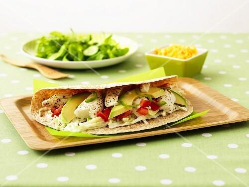 Burritos with halibut and avocado