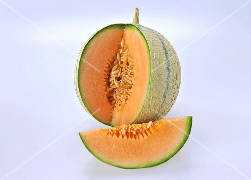 Cantaloupe melon with a section removed